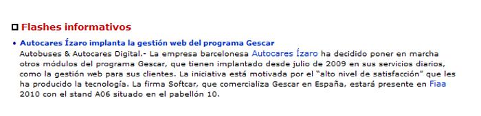 Autocares Ízaro implanta la gestión web del programa Gescar