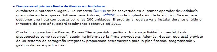 Damas es el primer cliente de Gescar en Andalucía