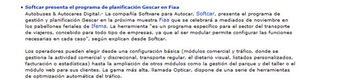 Softcar presenta el programa de planificacíon Gescar en FIAA