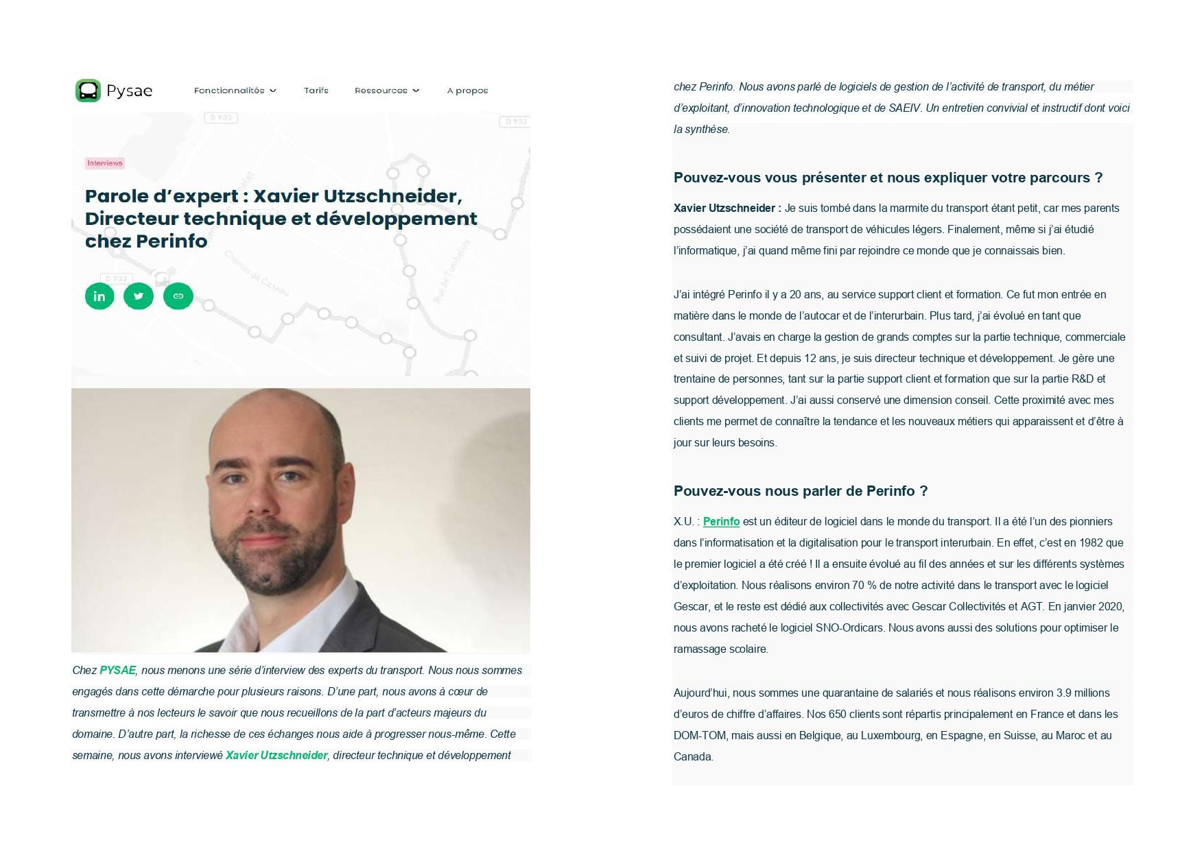 Interview de Xavier Utzschneider, directeur technique et développement